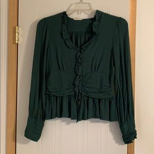 Green Fitted Blouse